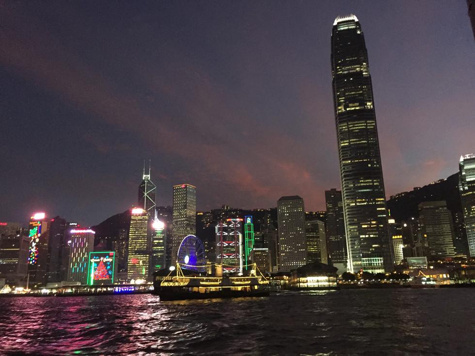 HK island syline by night