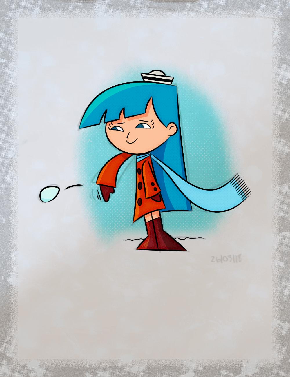 Menina, bola de neve