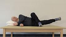 Lying down hip adducion exercise