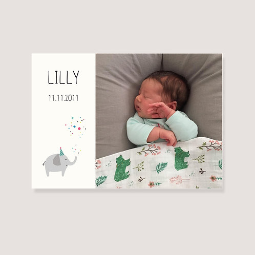 "Geburtskarte - ""1 Foto - Elefant"" - individuell gestaltet"