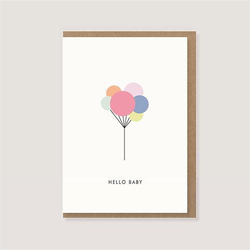 "Klappkarte - ""Luftballons - Hello Baby"""