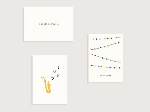 """Set aus 3 Karten  - """"Saxophon"""" - """"Wünsch dir was.."""" - """"Girlande - Hip Hip Hurra"""""""