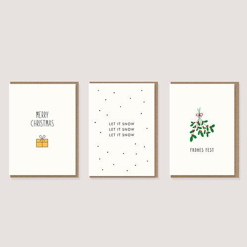 Set aus 3 Weihnachtskarten I