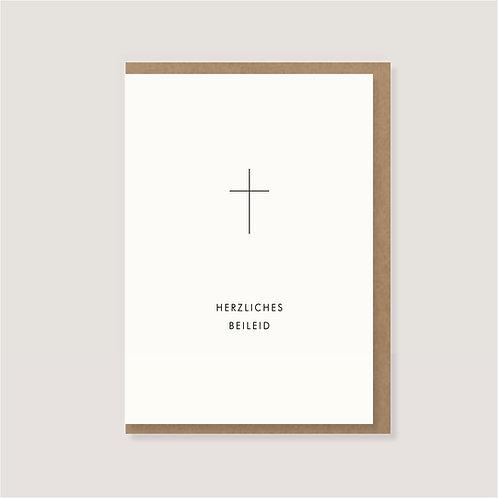 """Klappkarte - """"Kreuz - Herzliches Beileid"""""""