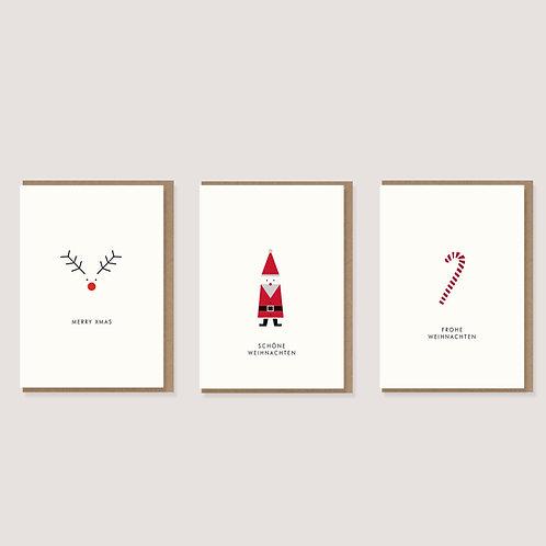 Set aus 3 Weihnachtskarten III