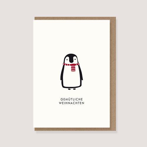 """Karte - """"Pinguin - Gemütliche Weihnachten"""""""
