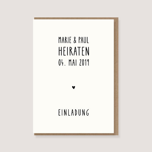 """Einladungskarte - """"Herz - Wir heiraten"""" - individuell gestaltet"""
