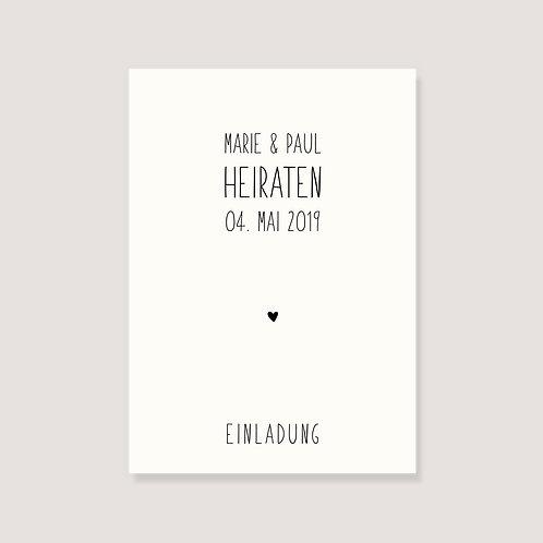 """Einladungskarte - """"Herz"""" - individualisierbar"""
