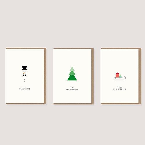 Set aus 3 Weihnachtskarten II