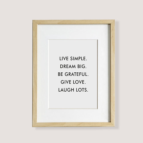 "Poster - ""live simple"""
