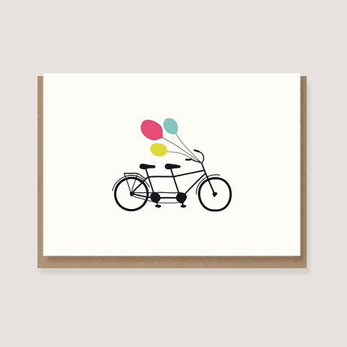 "Karte - ""Tandem mit Luftballons"""