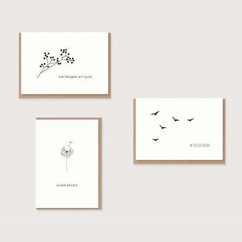 Set aus 3 Trauerkarten I