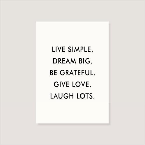 "Karte - ""live simple"""