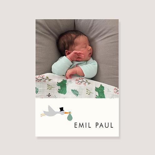 """Geburtskarte - """"1 Foto - Storch mit Namen"""" - individuell gestaltet"""