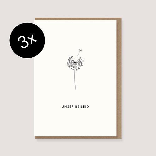 "3-er-Set Trauerkarte ""Pusteblume - Unser Beileid"""