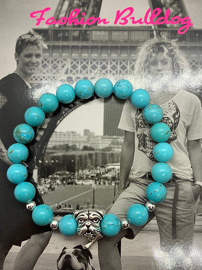 Bracelet Fashion Bulldog perles de Truquoises