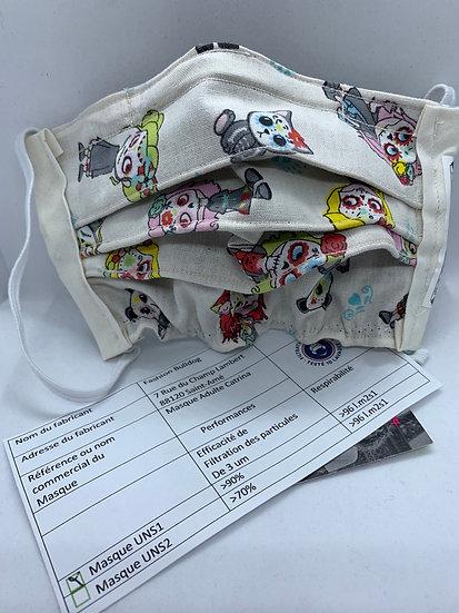 Masque UNS1 en tissu - Ado - Catrina - Fashion Bulldog