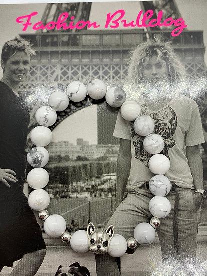 Bracelet Fashion Bulldog perles D'Howlite