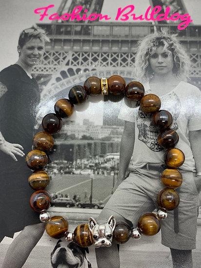 Bracelet Fashion Bulldog perles œil de tigre
