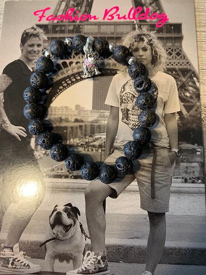 Bracelet Bulldog - Pierre de lave- Fashion Bulldog
