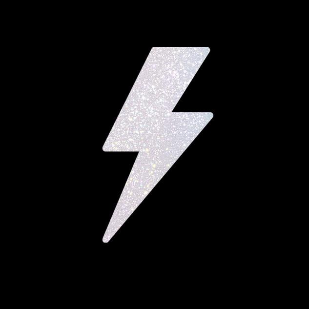 Rainbow White Glitter Lightening Bolt