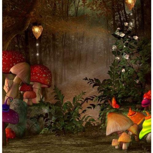 10x10FT Forest Mushroom Backdrop Vinyl