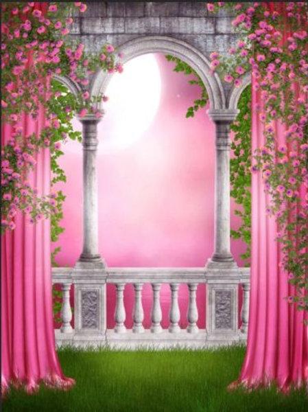 5x7FT Pink Princess Balcony Backdrop Vinyl