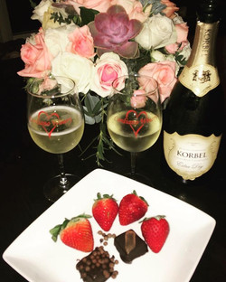 Champagne & truffles, the perfect dessert after a wonderful ribeye and brussel sprouts dinner