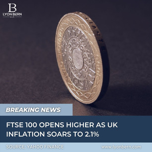 FTSE 100 opens higher as UK inflation soars to 2.1%