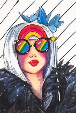 Through Rainbow Sunnies 9 x 12 in Acrylic & Ink on Watercolor Paper