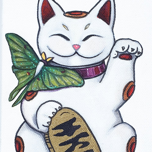 Lucky Cat with Moon Moth