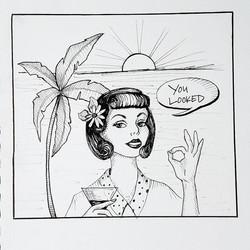 Waitress Humor- Art Journal Drawing