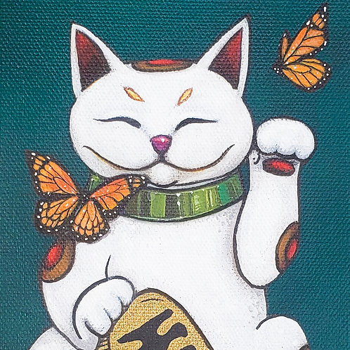 Lucky Cat with Monarchs