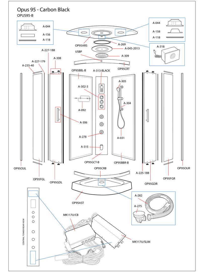 Opus 95 Black Steam Shower Exploded Diagram
