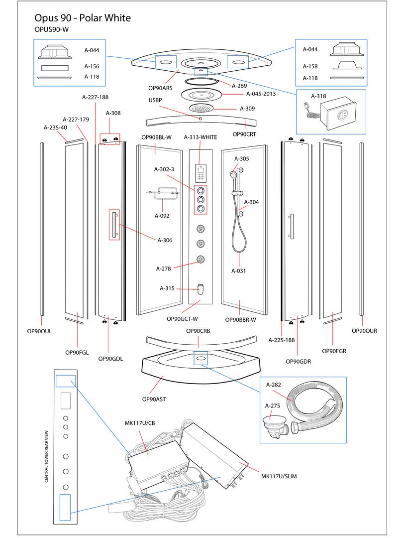 Opus 90 White Steam Shower Exploded Diagram