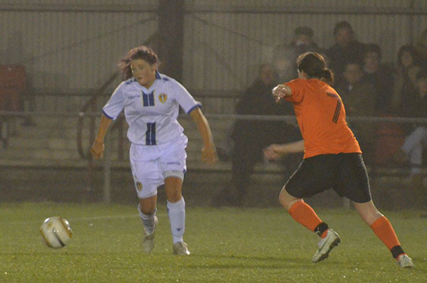 Sarah playing for Leeds United FC