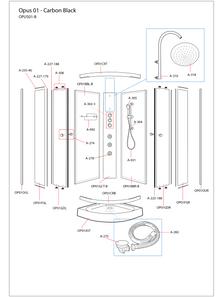 Opus 01 Black Shower Cabin Exploded Diagram