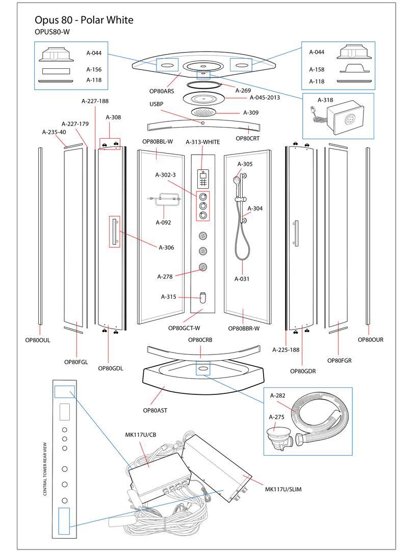 Opus 80 White Steam Shower Exploded Diagram