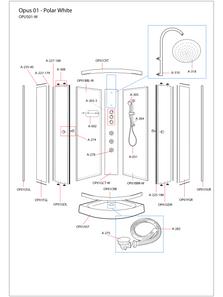 Opus 01 White Shower Cabin Exploded Diagram