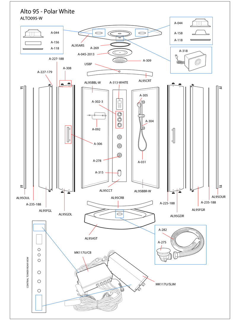 Alto 95 White Steam Shower Exploded Diagram