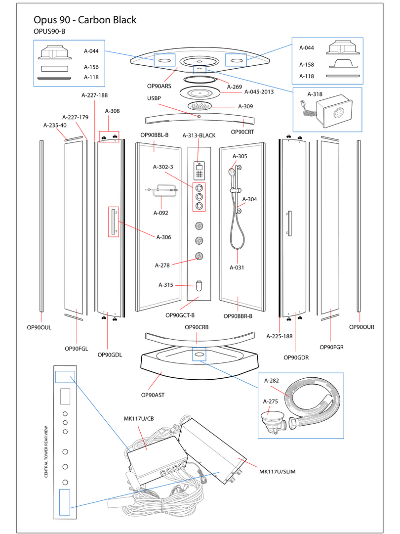 Opus 90 Black Steam Shower Exploded Diagram