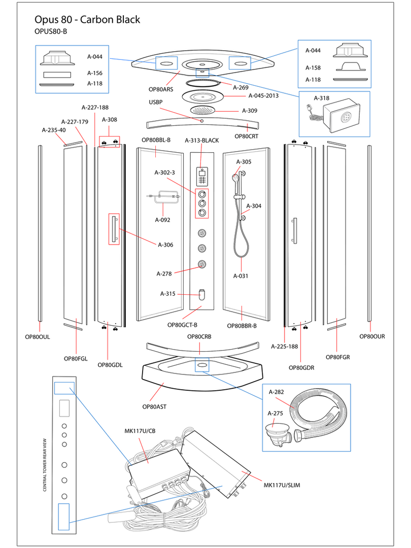 Opus 80 Black Steam Shower Exploded Diagram