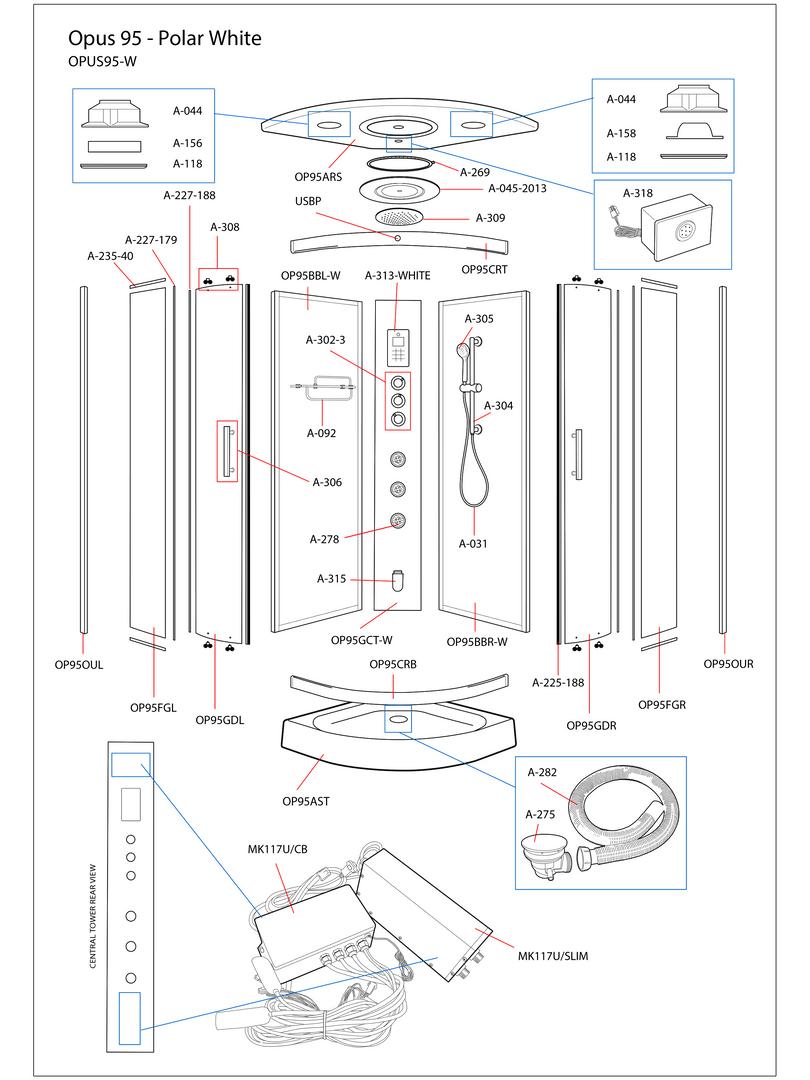 Opus 95 White Steam Shower Exploded Diagram