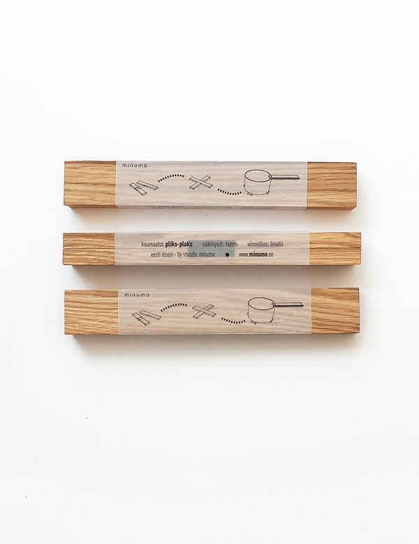 wooden trivet pliks-plaks packaging design with a simple cool looks