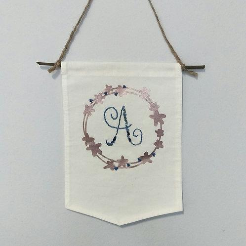 Nursery Banner - Alphabet Floral Wreath