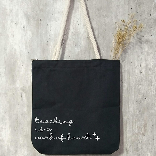 Teacher's Day Zipper Tote - Black