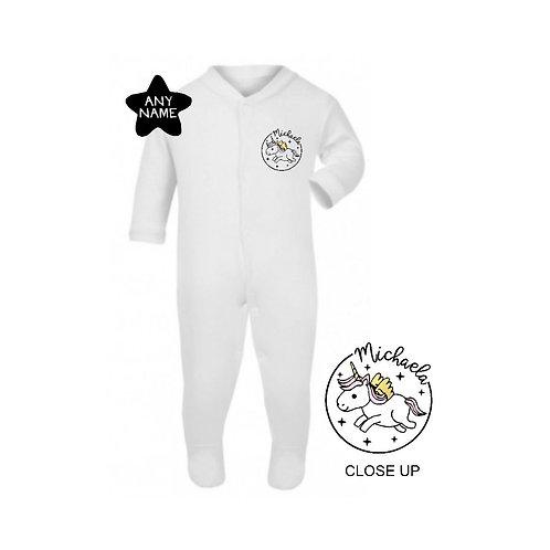 Personalised Unicorno Magico Footsie Sleepsuit
