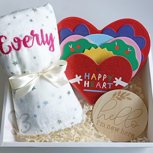 Happy Heart Book and Swaddle Set