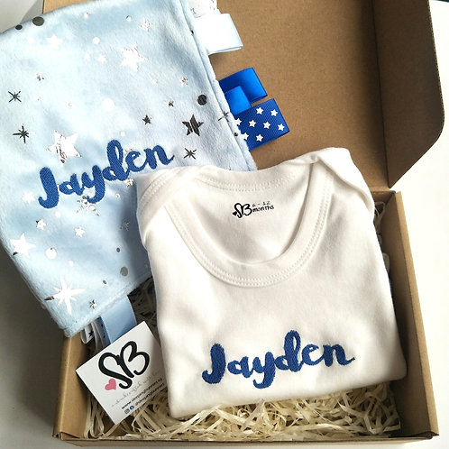 Embroidered Romper & Taggies Gift Set in Starry Bleu