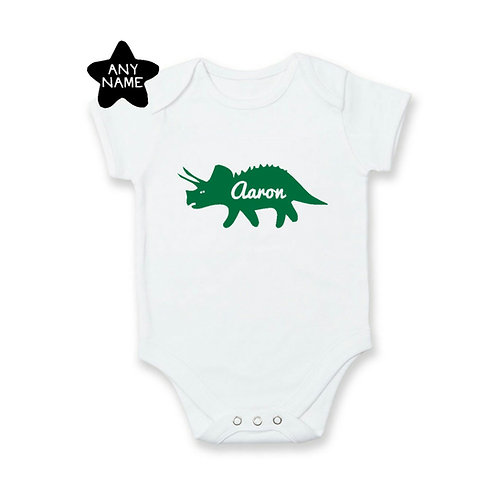 Personalised Triceratops Name Romper / Tee